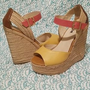 super cute pink and yellow wedges